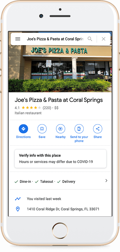 Joes Pizza and Pasta at Coral Springs, Address