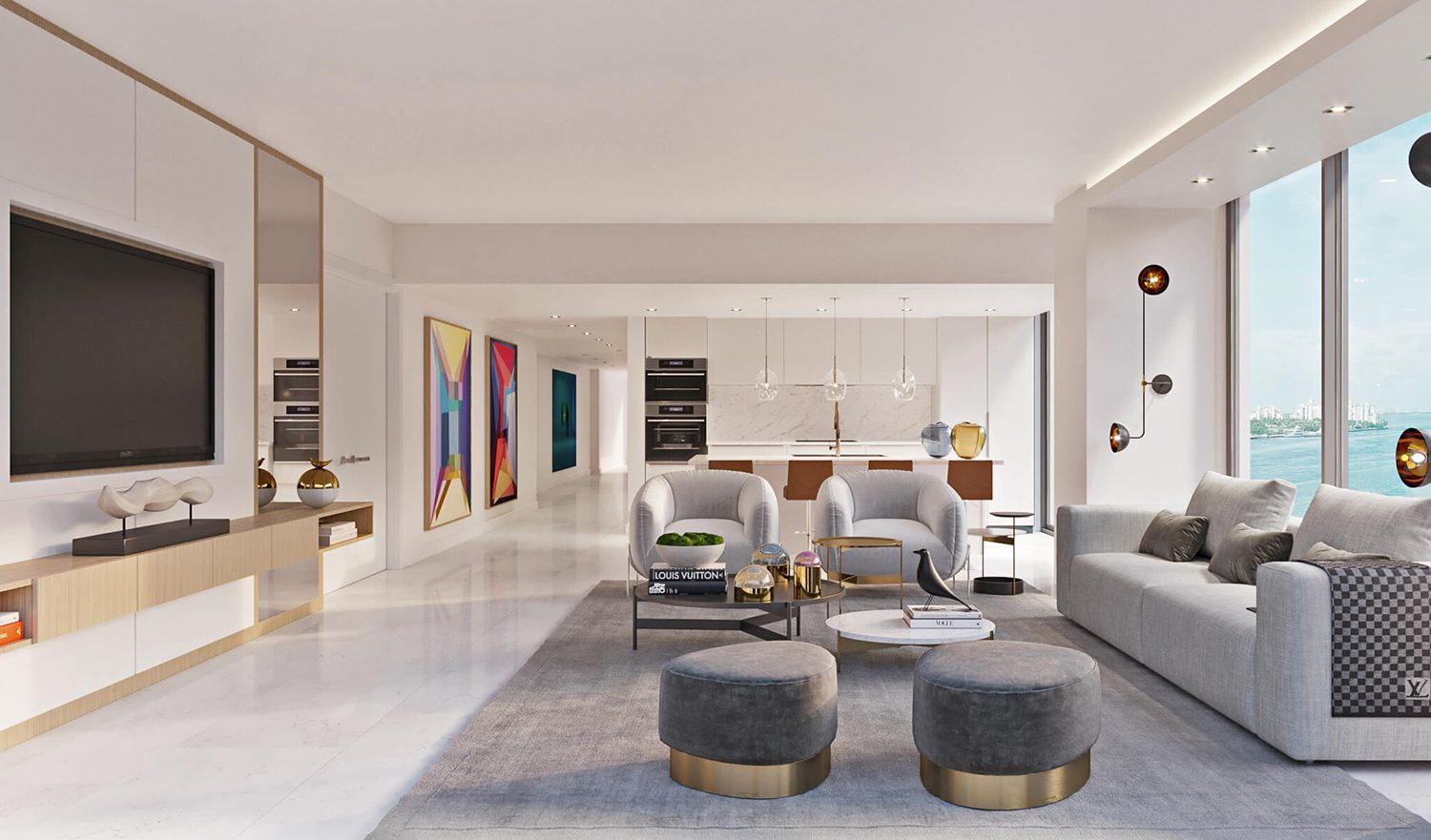 MILINA: Show-stopping Champagne Living Room by Britto Charette, Miami Interior Designer Firm.