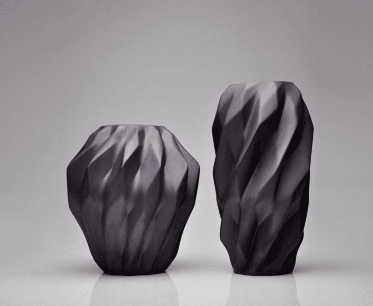 Plissan Geometrical Series vases from Holaria and Kerampozellan; photo from Maison&Objet